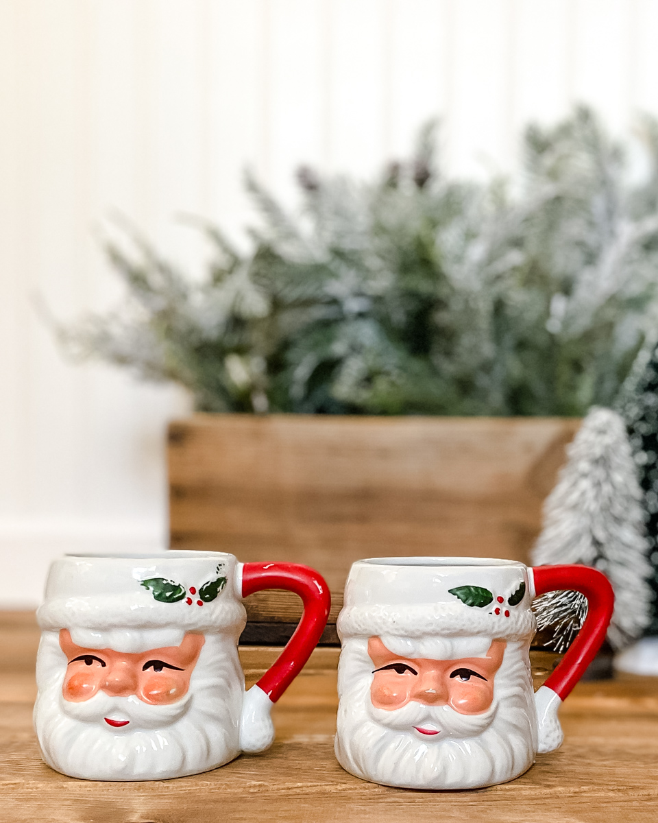 Look Alike Vintage Santa Mugs More Simply Woven Always Vintage
